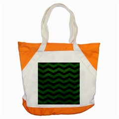 CHEVRON3 BLACK MARBLE & GREEN LEATHER Accent Tote Bag