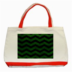 CHEVRON3 BLACK MARBLE & GREEN LEATHER Classic Tote Bag (Red)
