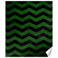 CHEVRON3 BLACK MARBLE & GREEN LEATHER Canvas 8  x 10