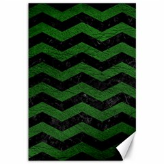 CHEVRON3 BLACK MARBLE & GREEN LEATHER Canvas 12  x 18