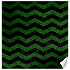 CHEVRON3 BLACK MARBLE & GREEN LEATHER Canvas 16  x 16