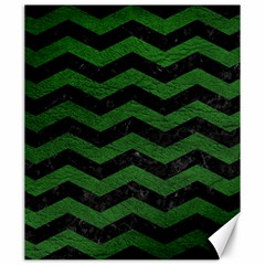 CHEVRON3 BLACK MARBLE & GREEN LEATHER Canvas 20  x 24