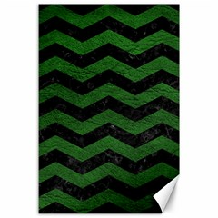 CHEVRON3 BLACK MARBLE & GREEN LEATHER Canvas 24  x 36