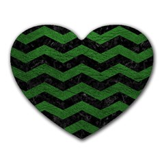 CHEVRON3 BLACK MARBLE & GREEN LEATHER Heart Mousepads