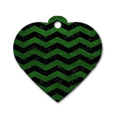 CHEVRON3 BLACK MARBLE & GREEN LEATHER Dog Tag Heart (Two Sides)