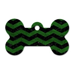 CHEVRON3 BLACK MARBLE & GREEN LEATHER Dog Tag Bone (Two Sides)