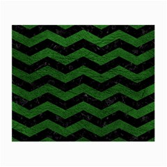 CHEVRON3 BLACK MARBLE & GREEN LEATHER Small Glasses Cloth (2-Side)