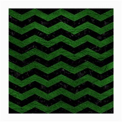 CHEVRON3 BLACK MARBLE & GREEN LEATHER Medium Glasses Cloth (2-Side)