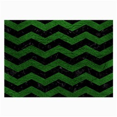 CHEVRON3 BLACK MARBLE & GREEN LEATHER Large Glasses Cloth