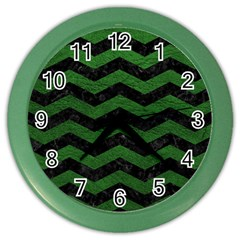 CHEVRON3 BLACK MARBLE & GREEN LEATHER Color Wall Clocks