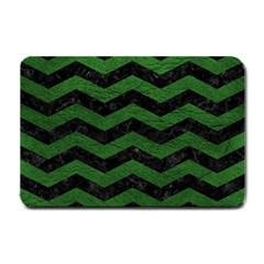 CHEVRON3 BLACK MARBLE & GREEN LEATHER Small Doormat