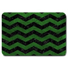 CHEVRON3 BLACK MARBLE & GREEN LEATHER Large Doormat