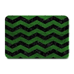 CHEVRON3 BLACK MARBLE & GREEN LEATHER Plate Mats