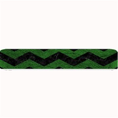 CHEVRON3 BLACK MARBLE & GREEN LEATHER Small Bar Mats