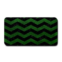 CHEVRON3 BLACK MARBLE & GREEN LEATHER Medium Bar Mats