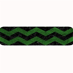 CHEVRON3 BLACK MARBLE & GREEN LEATHER Large Bar Mats