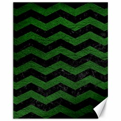 CHEVRON3 BLACK MARBLE & GREEN LEATHER Canvas 11  x 14