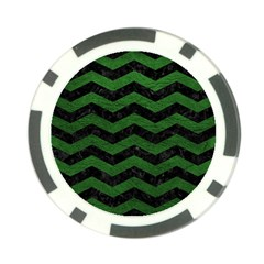 CHEVRON3 BLACK MARBLE & GREEN LEATHER Poker Chip Card Guard