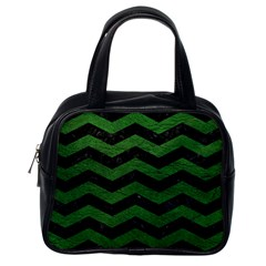 CHEVRON3 BLACK MARBLE & GREEN LEATHER Classic Handbags (One Side)