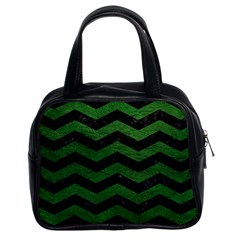 CHEVRON3 BLACK MARBLE & GREEN LEATHER Classic Handbags (2 Sides)