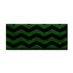 CHEVRON3 BLACK MARBLE & GREEN LEATHER Cosmetic Storage Cases