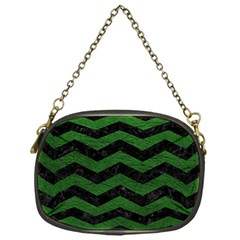 CHEVRON3 BLACK MARBLE & GREEN LEATHER Chain Purses (One Side)