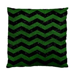 CHEVRON3 BLACK MARBLE & GREEN LEATHER Standard Cushion Case (One Side)