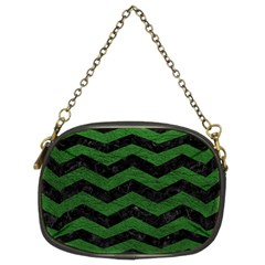 CHEVRON3 BLACK MARBLE & GREEN LEATHER Chain Purses (Two Sides)