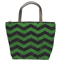 CHEVRON3 BLACK MARBLE & GREEN LEATHER Bucket Bags