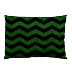 CHEVRON3 BLACK MARBLE & GREEN LEATHER Pillow Case