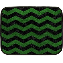 CHEVRON3 BLACK MARBLE & GREEN LEATHER Fleece Blanket (Mini)