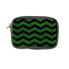 CHEVRON3 BLACK MARBLE & GREEN LEATHER Coin Purse