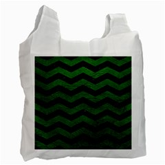 CHEVRON3 BLACK MARBLE & GREEN LEATHER Recycle Bag (Two Side)