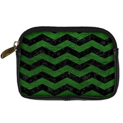 CHEVRON3 BLACK MARBLE & GREEN LEATHER Digital Camera Cases