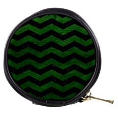 CHEVRON3 BLACK MARBLE & GREEN LEATHER Mini Makeup Bags