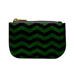 CHEVRON3 BLACK MARBLE & GREEN LEATHER Mini Coin Purses