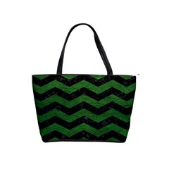 CHEVRON3 BLACK MARBLE & GREEN LEATHER Shoulder Handbags