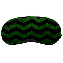CHEVRON3 BLACK MARBLE & GREEN LEATHER Sleeping Masks