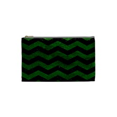 CHEVRON3 BLACK MARBLE & GREEN LEATHER Cosmetic Bag (Small)