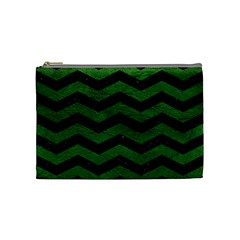 CHEVRON3 BLACK MARBLE & GREEN LEATHER Cosmetic Bag (Medium)