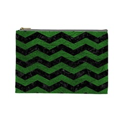 CHEVRON3 BLACK MARBLE & GREEN LEATHER Cosmetic Bag (Large)
