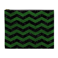 CHEVRON3 BLACK MARBLE & GREEN LEATHER Cosmetic Bag (XL)