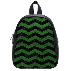 CHEVRON3 BLACK MARBLE & GREEN LEATHER School Bag (Small)