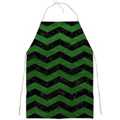 CHEVRON3 BLACK MARBLE & GREEN LEATHER Full Print Aprons