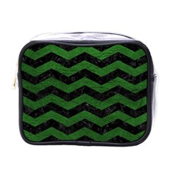 CHEVRON3 BLACK MARBLE & GREEN LEATHER Mini Toiletries Bags
