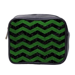 CHEVRON3 BLACK MARBLE & GREEN LEATHER Mini Toiletries Bag 2-Side