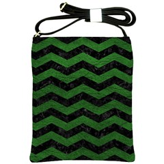 CHEVRON3 BLACK MARBLE & GREEN LEATHER Shoulder Sling Bags