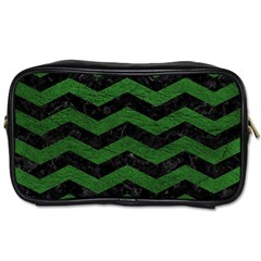 CHEVRON3 BLACK MARBLE & GREEN LEATHER Toiletries Bags 2-Side
