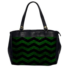 CHEVRON3 BLACK MARBLE & GREEN LEATHER Office Handbags
