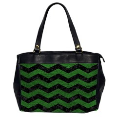 CHEVRON3 BLACK MARBLE & GREEN LEATHER Office Handbags (2 Sides)